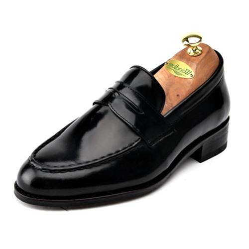 6.5cm背高ペニーローファー手作り靴(EL0045BK)