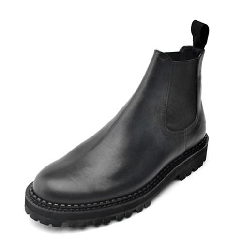 8cmレザープレーントゥチェルシーブーツ手作り靴(ミカエル_EL0130BK)