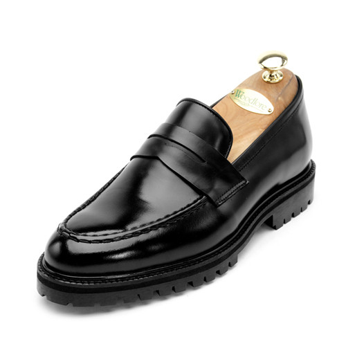 7cmクラシックレザーペニーローファー手作り靴(EL0134BK)