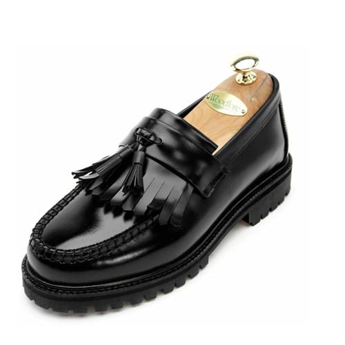 7cmカートンボックスタッセルローファー手作り靴(EL0136BK)
