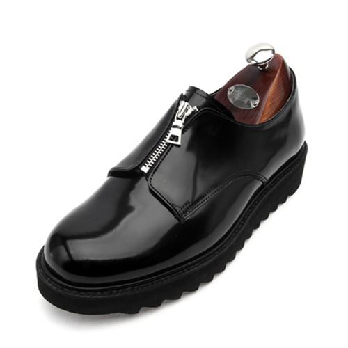 7cmプレーントゥジッパーシャークソールクリッパー手作り靴(EL0146BK)