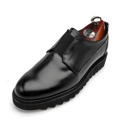 7cmシャークソールプレーントゥバンディング手作り靴(アリーナ_EL0148BK)