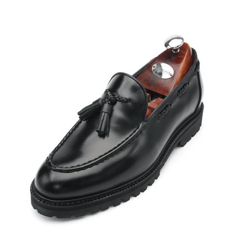 7cmコマンドーユチプタッセルローファー手作り靴(EL0151BK)