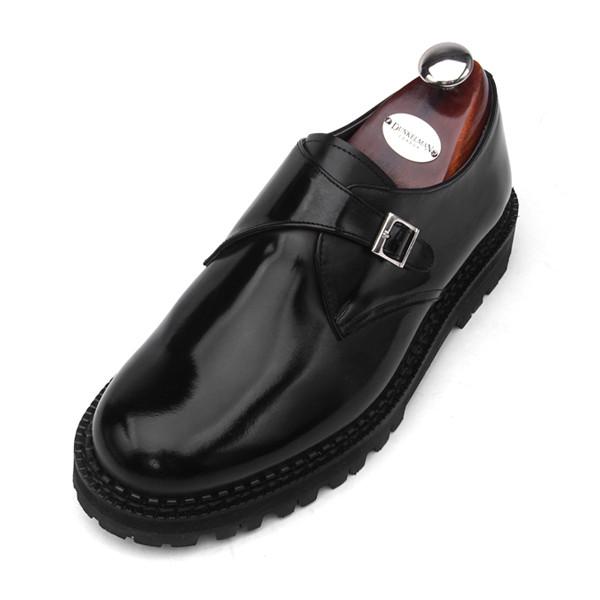7cmコマンドーモンクストラップ手作り靴(EL0159BK)