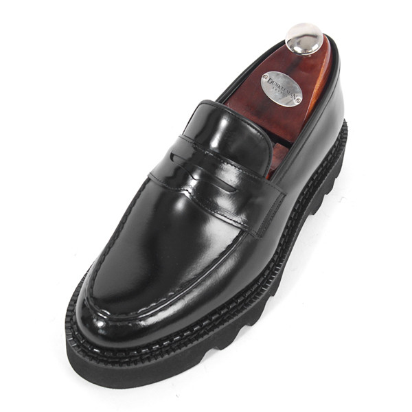 8cmコマンドーペニーローファー手作り靴(EL0170BK_大きくマックス)