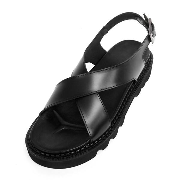 5.5cmコマンドークロスバンディングサンダル手作り靴(EL0173BK)