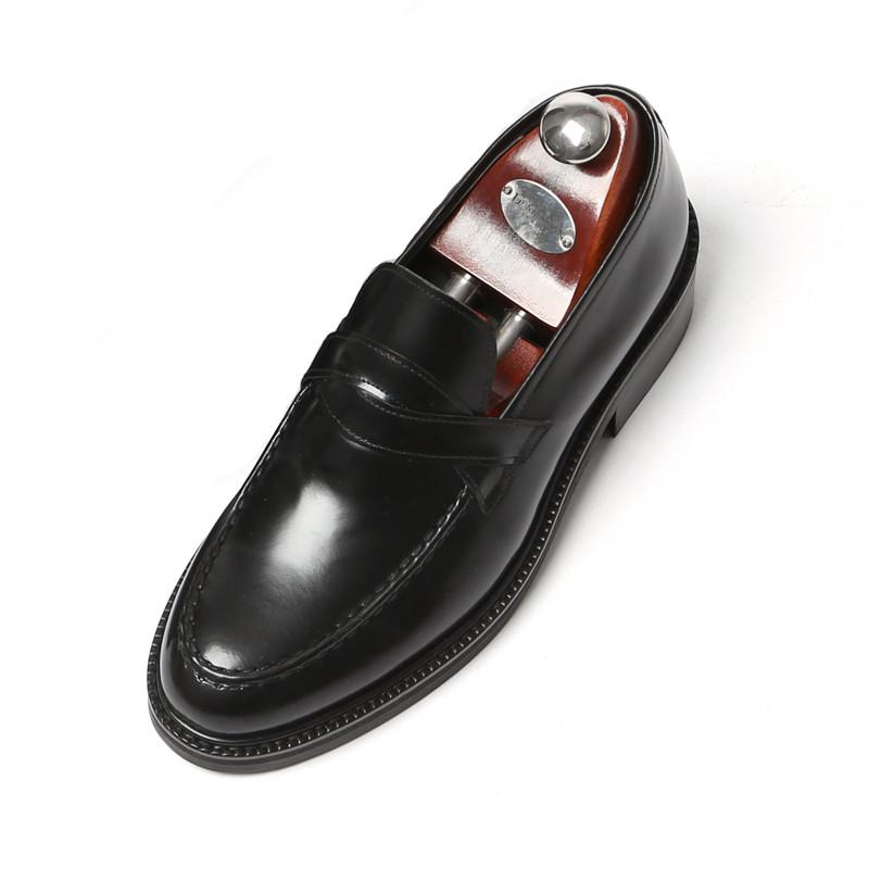 7.5cmユチプクロスペニーローファー手作り靴(ルイス_EL0177BK)