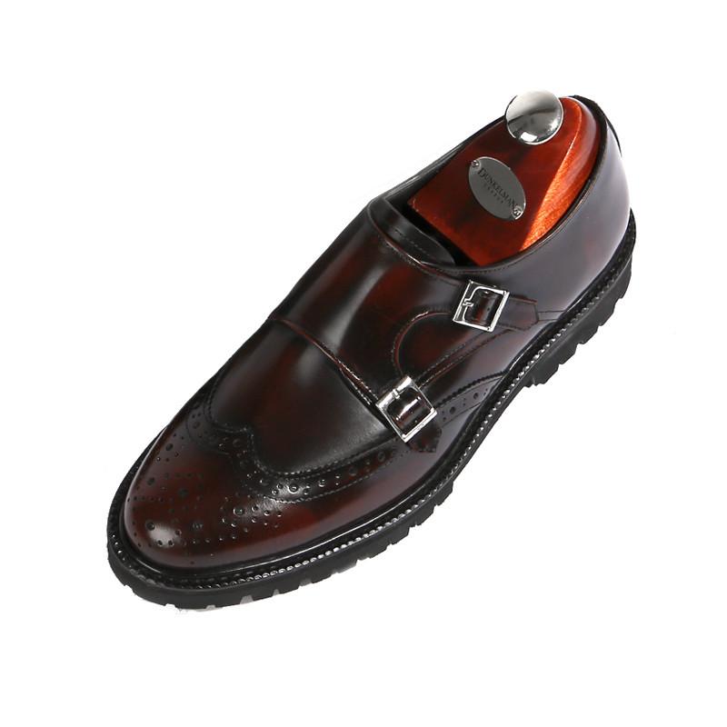 8cmウィンチプダブルモンクストラップ手作り靴(EL0179WN)