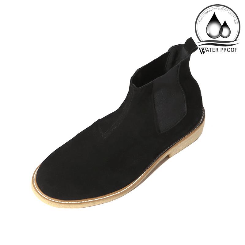 7cmクレープスエードチェルシーブーツ手作り靴(ルフトハンザ_EL0181BK)