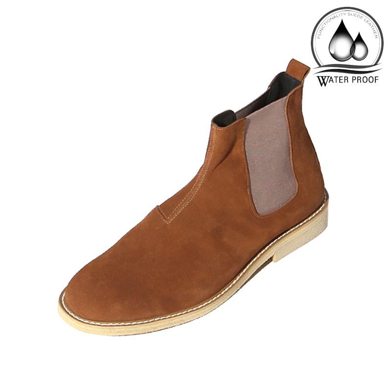 7cmクレープスエードチェルシーブーツ手作り靴(ルフトハンザ_EL0181BR)