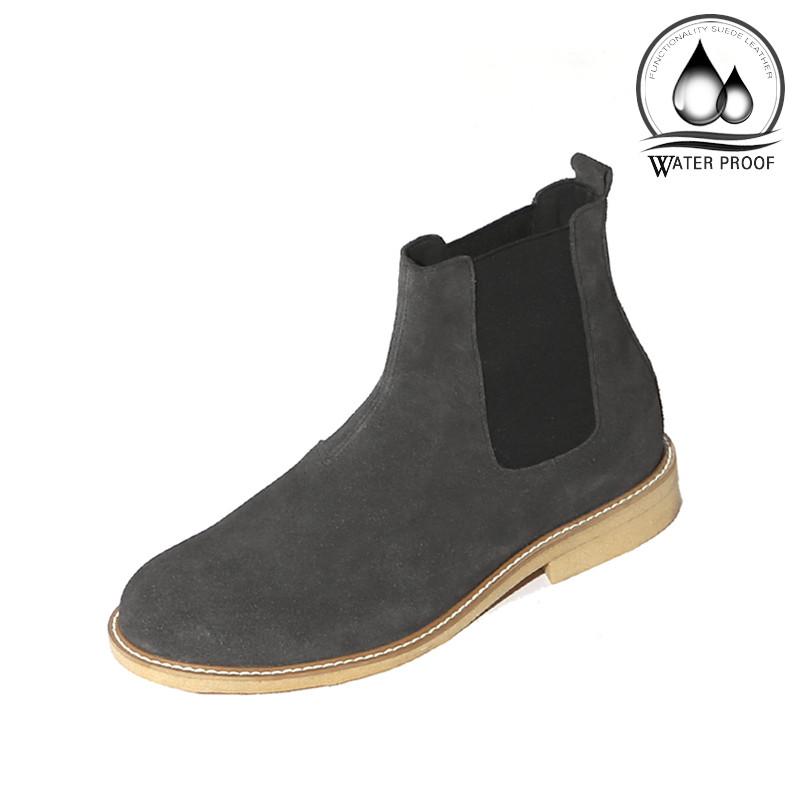 7cmクレープスエードチェルシーブーツ手作り靴(ルフトハンザ_EL0181GR)