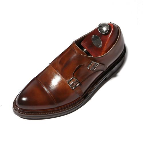 6cmダブルダイナイトモンクストラップ手作り靴(クラシック_CH0018BR)