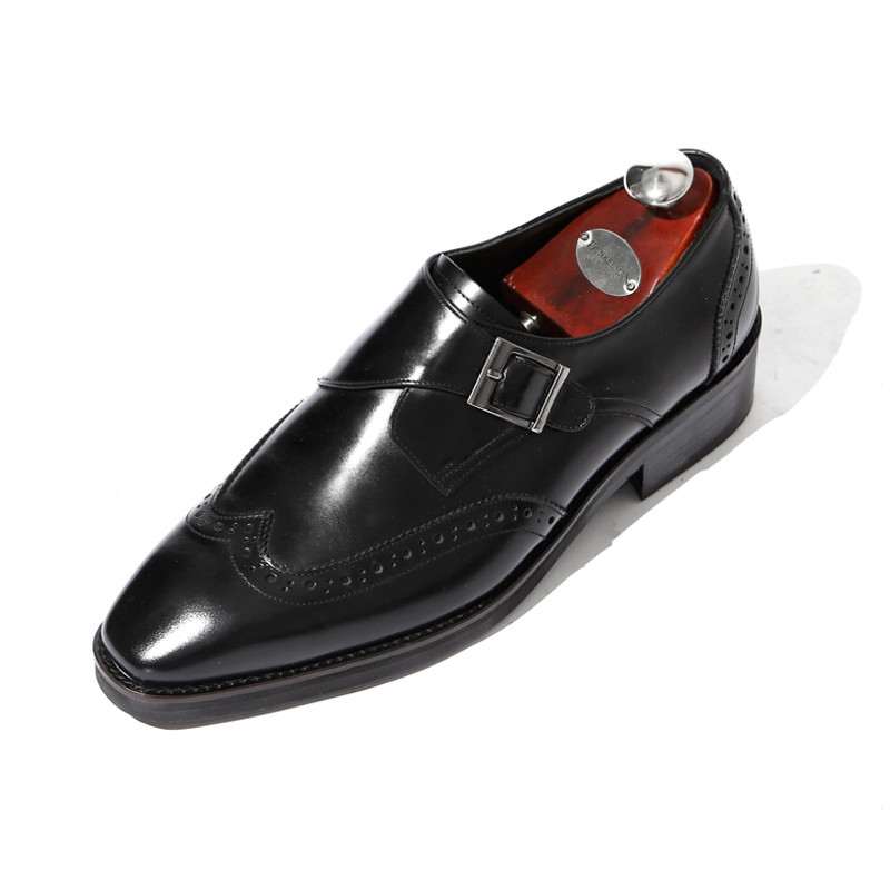7.5cmウィンチプワンバックルモンクストラップ手作り靴(EL0182BK)