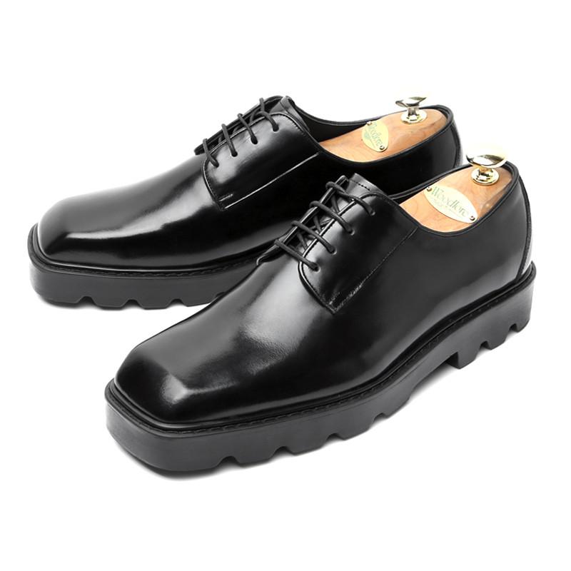 6cmスクエアトダービー手作り靴(ピエリ_EL0184BK)