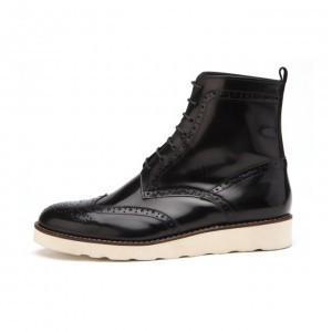男性カントリーウィンチプウォーカー手作り靴(mb601bl)