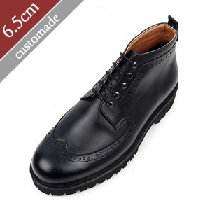 6.5cm背高ウィンチプチャッカーブーツ手作り靴(EL0097BK)