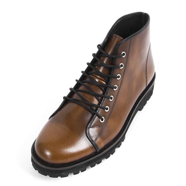 6.5cm背高ウォーカーブーツ手作り靴(EL0096BR)