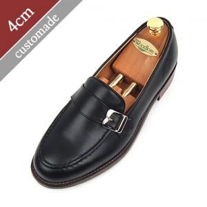 4cm背高ストラップローファー手作り靴(EL0055BK)