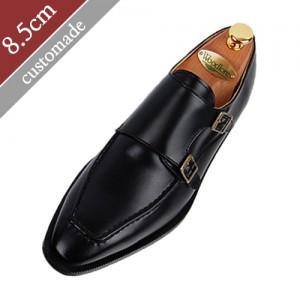 8.5cm背高ユチプダブルモンクストラップ手作り靴(EL0011BK)
