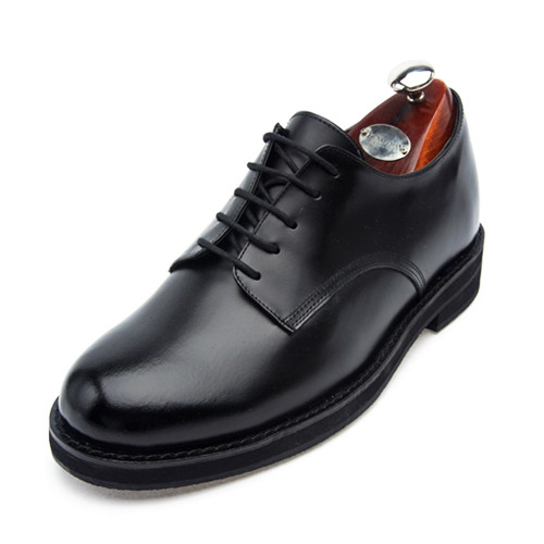 6.5cm背高、米海軍の靴プレーントゥ手作り靴(EL0025BK)