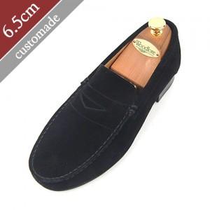 6.5cm背高ペニーローファー手作り靴(EL0047BK)