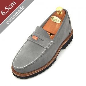 6.5cm背高ペニーローファー手作り靴(EL0048GY)