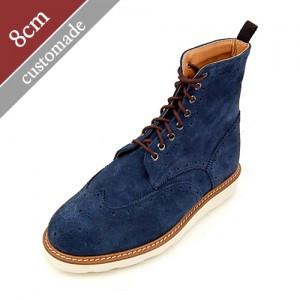 8cm背高ウィンチプブリックソールウォーカー手作り靴(EL0104NV)