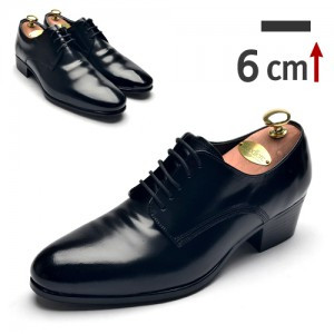 6cm背高プレーントゥクラシック靴(ZE0128BK)