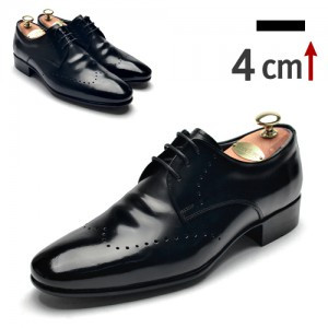 4cm背高パンチングプレーントゥクラシック靴(0917BK)