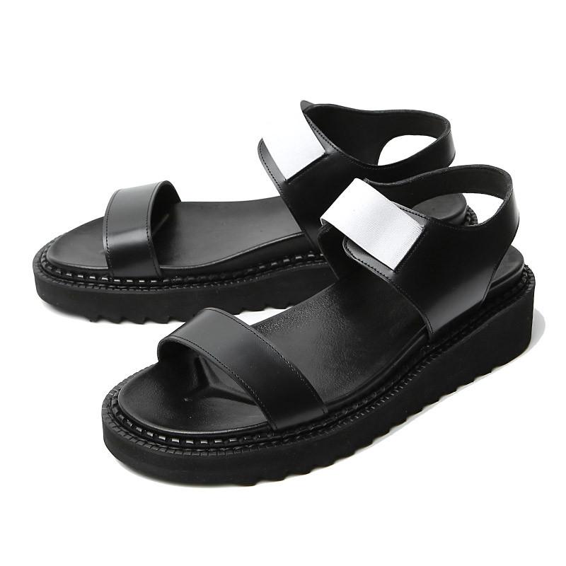 5cmホワイトバンディング手作り靴サンダル(EL0190BK)