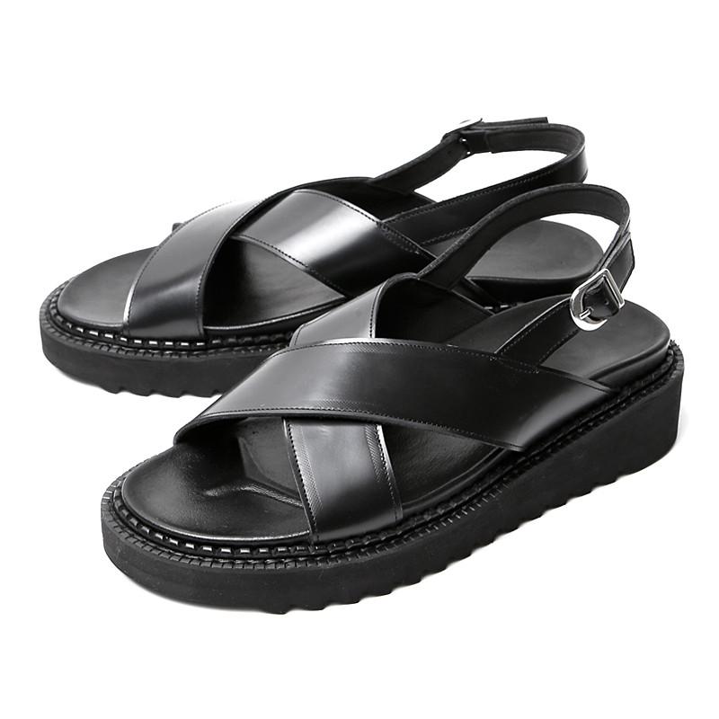 5cmクロスストラップ手作り靴サンダル(EL0188BK)