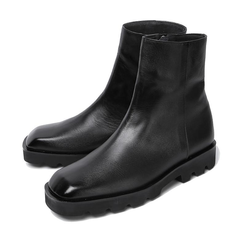 6.5cmスクエアトジッパーブーツ手作り靴(ルビト_EL0193BK)
