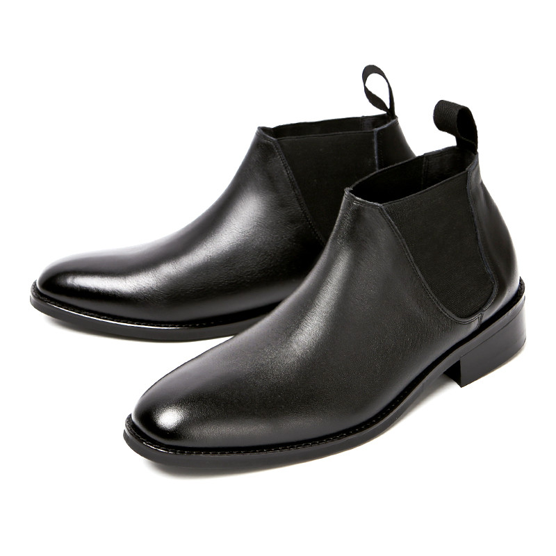 7.5cmダイナイトショットチェルシーブーツ手作り靴(ゲンク_EL0195BK)