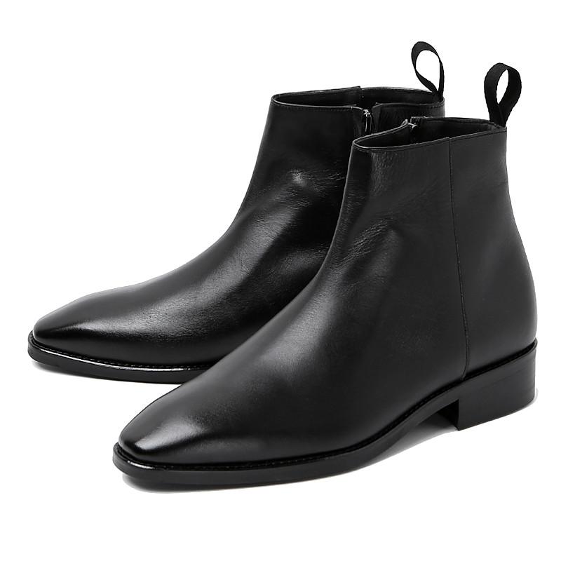 8cmダイナイトチェルシーブーツ手作り靴(メルロー_EL0194BK)