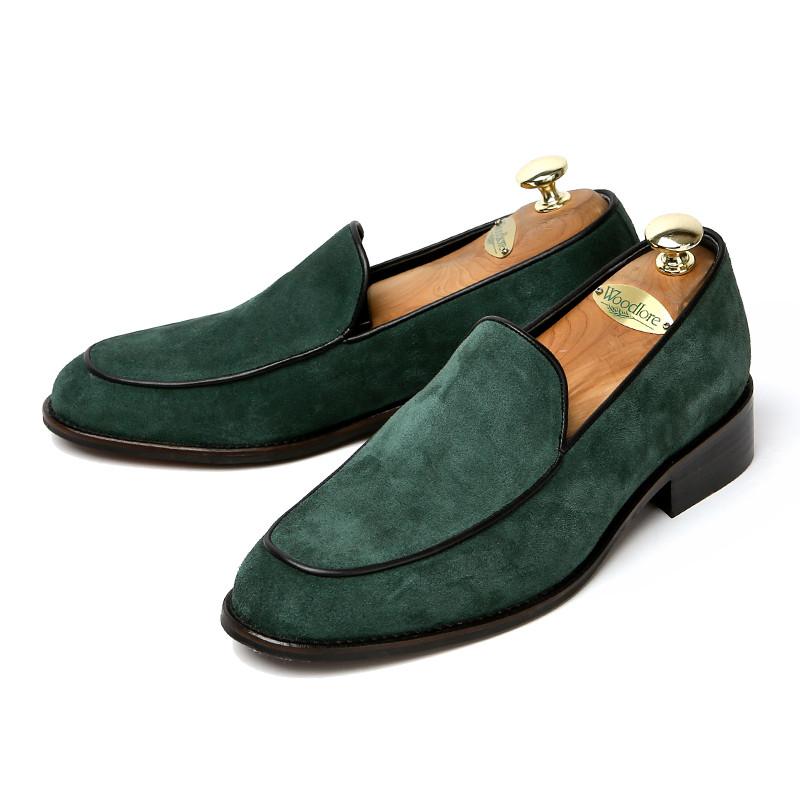 7cmジェントルスエードローファー手作り靴(プラテル_EL0196SGR)