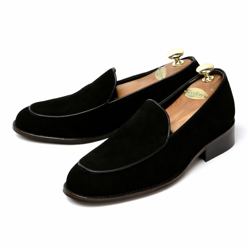 7cmジェントルスエードローファー手作り靴(プラテル_EL0196SBK)