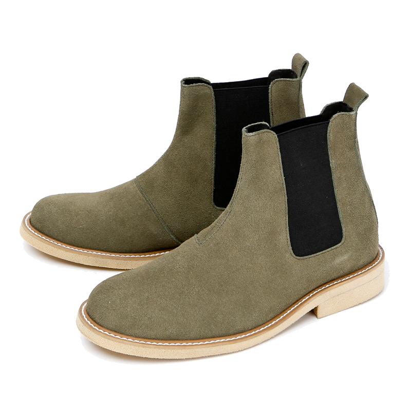 7cmクレープスエードチェルシーブーツ手作り靴(ルフトハンザ_EL0181KK)